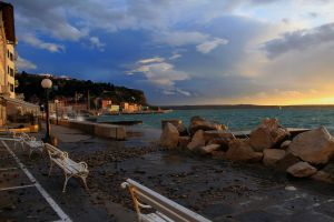 Coastal city of Piran, after a truly epic storm