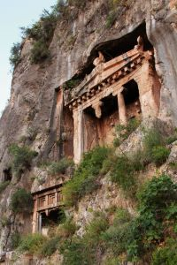 Tombs carved in the rockface above Fethiye, a major reason I came here.