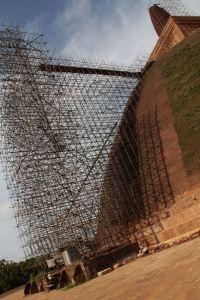 Stupa under restoration