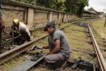 Rail workers in Kandy, Sri Lanka