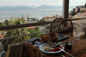 Where I ate my breakfast in Fethiye. (And where I slept.) Not too shabby.