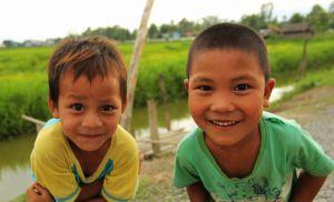 Cute kids in Myanmar, Burma, Inle Lake, Nyaung Shwe