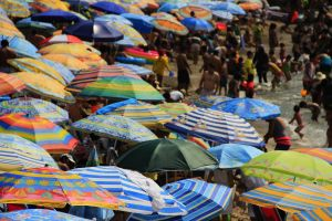 crowded beach, umbrellas, Peru