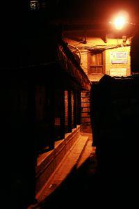 Bhaktapur street at night.