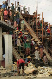 Poor laborers in Myanmar