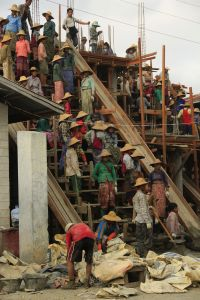 Poor laborers in Myanmar