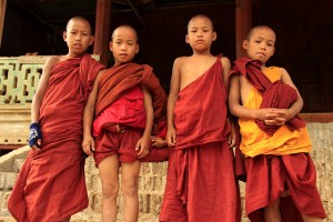 Young monks in the Myanmar countryside