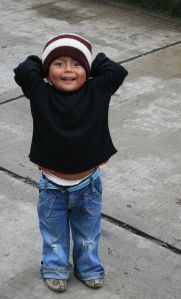 My hands were full of food, not camera, but this little dude I met in Guatemala could be his twin brother.