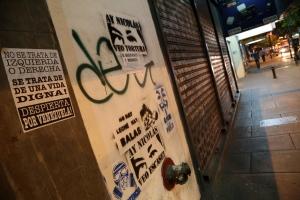 Caracas street with graffiti