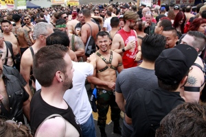 Folsom Street Fair crowd and laughing