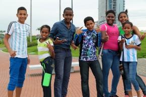 My friends on the Panamanian promenade