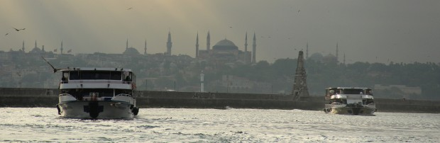 Looking across the Bosporus to Istanbul's Golden Horn