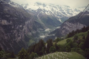 Somewhere above and between Gimmelwald, Murren, and Birg, on the way to Schilthorn