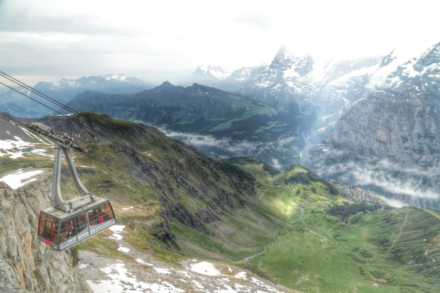 Descending from Schilthorn, in the Lauterbrunnen valley, Switzerland