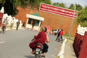 Monks hitch rides in Myanmar, even to the palace. The Tatmadaw is the Myanmar military