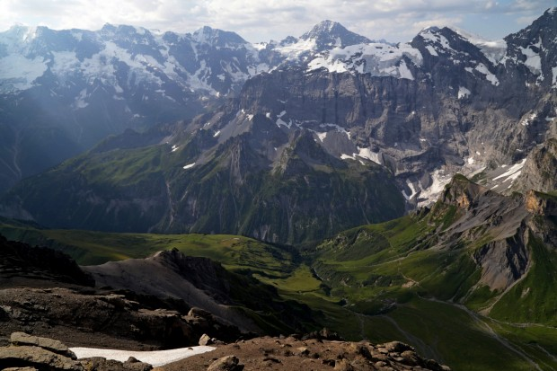 Looking out behind the Schilthorn, the direction generally considered less scenic.