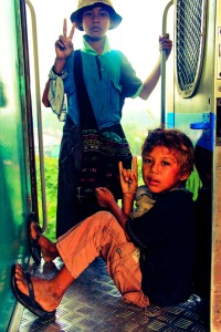 Burmese boys on the train