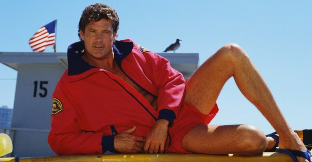 "Actor David Hasselhoff on ""Baywatch"" Set"