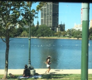 Oakland Lake Merritt from the bus