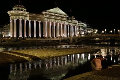 Skopje river, bridge, and buildings