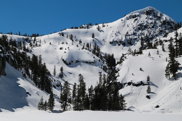 Ski tracks above Eagle Lake