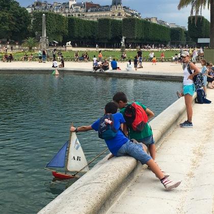 Paris, Luxembourg Garden, children, boats, fountain, France