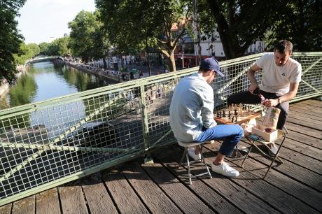 Paris, France, chess, bridge, Seine, canal, wine