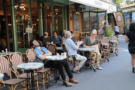 Paris, France, cafe, napping, nap