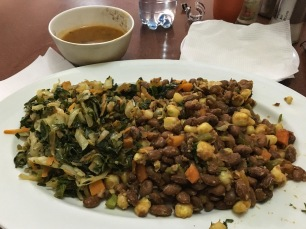 Day 2's mystery menu item was beans and greens. Githeri.